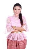 穿典型的泰国礼服,泰国的身分文化的妇女 免版税库存照片