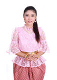 穿典型的泰国礼服,泰国的身分文化的妇女 免版税库存图片