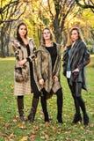 穿典雅的衣裳的三名惊人的年轻白种人妇女摆在秋天公园 免版税库存照片