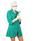 穿制服被装载的护士性感的短的注射器 库存照片