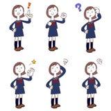 穿制服,水手服的女小学生姿势和姿态  向量例证