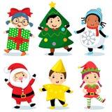 穿圣诞节服装的逗人喜爱的孩子 向量例证
