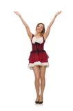 穿在时尚概念的妇女红色礼服被隔绝 免版税库存图片