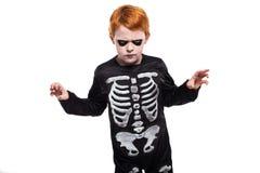 穿在白色背景的小男孩画象万圣夜服装 图库摄影