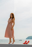 穿在跳船的妇女长的浅粉红色的礼服 库存照片