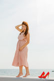 穿在跳船的妇女长的浅粉红色的礼服 图库摄影