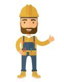 穿安全帽和总体的一位愉快的木匠的例证 免版税库存图片