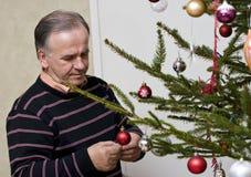 穿戴人前辈结构树的圣诞节 库存图片