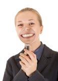 穿戴的女孩办公室年轻人 免版税库存照片