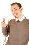 穿戴的看板卡拿着很好微笑的人 免版税库存图片