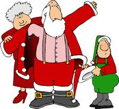 穿戴获得帮助的圣诞老人 图库摄影