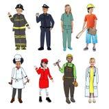 穿未来工作制服的孩子 库存图片