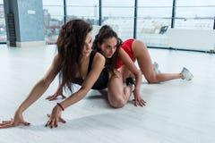 穿泳装的两名性感的深色的妇女摆在站立诱人的位置在爬行在地板上的手和膝盖 库存照片