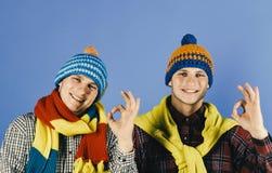 穿温暖的帽子和围巾的双胞胎显示好标志 库存照片