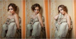 穿皮大衣的可爱的性感的少妇诱惑摆在室内 肉欲的女性画象有创造性的理发的 免版税库存照片