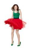 穿着减速火箭的裙子的舞女 图库摄影