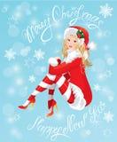 穿着圣诞老人衣服的圣诞节女孩的白肤金发的Pin 库存图片