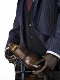 穿着在白色背景的钝汉典雅的男性衣服 免版税库存照片