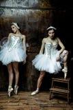 穿着白色芭蕾舞短裙裙子的两名美丽的妇女 免版税库存图片