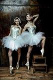 穿着白色芭蕾舞短裙裙子的两名美丽的妇女 免版税图库摄影
