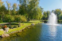 穿着考究的绿色草坪在树树荫下在池塘的岸的标示用一块石头用清楚的水 库存图片
