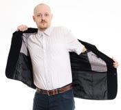 穿着他的夹克的人 图库摄影