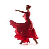 穿红色礼服的妇女舞蹈家 库存照片