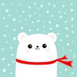 穿红色围巾的极性白色矮小的小小熊 与眼睛和微笑的顶头面孔 逗人喜爱的动画片婴孩字符 北极动物col 免版税图库摄影