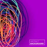 穿线混乱背景 抽象构成线路 颜色紫色背景 可适用为盖子,俱乐部海报 库存照片