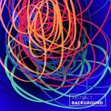 穿线混乱背景 抽象构成线路 颜色蓝色背景 可适用为盖子,俱乐部海报,招贴 库存照片