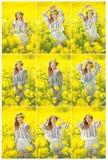 穿罗马尼亚传统女衬衫的女孩摆在油菜领域,室外射击 美丽的金发碧眼的女人画象有花圈的 免版税库存图片