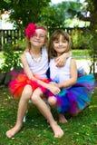 穿芭蕾舞短裙的两个女孩。 库存图片