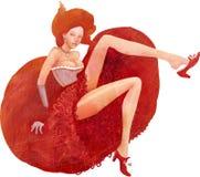 穿葡萄酒礼服的妇女 库存图片