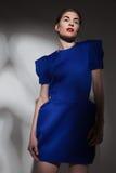 穿蓝色礼服的时髦的女人 免版税库存照片