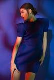 穿蓝色礼服的时髦的女人 库存照片