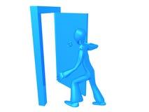 穿蓝衣的男孩出去 免版税库存图片
