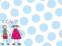 穿蓝衣的男孩女孩爱 免版税图库摄影