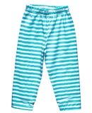 穿蓝衣的男孩裤子镶边夏天 免版税库存照片