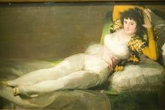 穿衣的Maja,公爵夫人晨曲,弗朗西斯科如博物馆de普拉多,普拉多博物馆,马德里,西班牙所显示的de Goya 免版税图库摄影