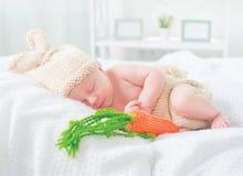 穿被编织的兔宝宝服装的逗人喜爱的新出生的男婴 图库摄影