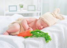 穿被编织的兔宝宝服装的逗人喜爱的新出生的男婴 免版税库存照片