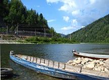 穿过一条河的小船在一个混杂的森林里 库存照片