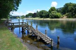 穿过哈密尔顿,新西兰的怀卡托河 库存照片