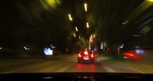 穿过夜城市驾驶 影视素材