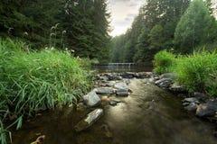 穿过河的瀑布 免版税库存图片