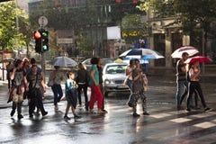 穿过街道的人们在斑马交叉路 库存照片
