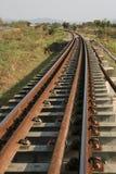 穿过绿色植物的铁路线 旅途方式乘火车 免版税图库摄影