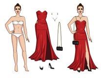 穿长的红色礼服的迷人的夫人 皇族释放例证