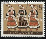 穿马其顿的全国服装的人们 免版税库存照片