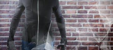 穿黑有冠乌鸦的强盗的综合图象 免版税库存图片